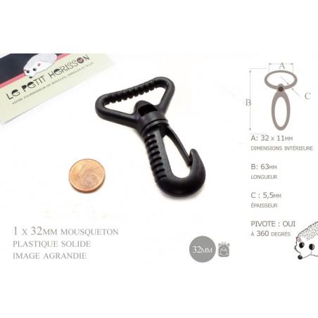 1 x 32mm Mousquetons Pivotants / Plastique / Noir / Solide