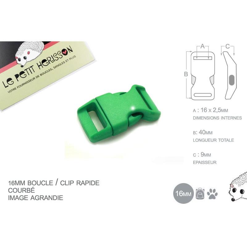 1 x 16mm Boucle Attache Rapide / Fermoir Clip / Plastique / Vert / Simple