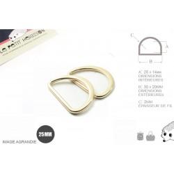 2 x 25mm Anneaux demi lunes / Metal /  Moulé / Plat / Dore Clair / Dore Rose