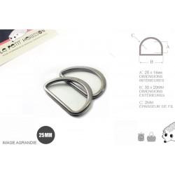 2 x 25mm Anneaux demi lunes / Metal /  Moulé / Plat / Gunmetal