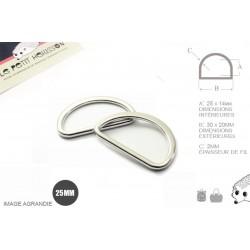 2 x 25mm Anneaux demi lunes / Metal /  Moulé / Plat / Nickel