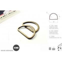 2 x 25mm Anneaux demi lunes / Metal /  Moulé / Plat / Bronze