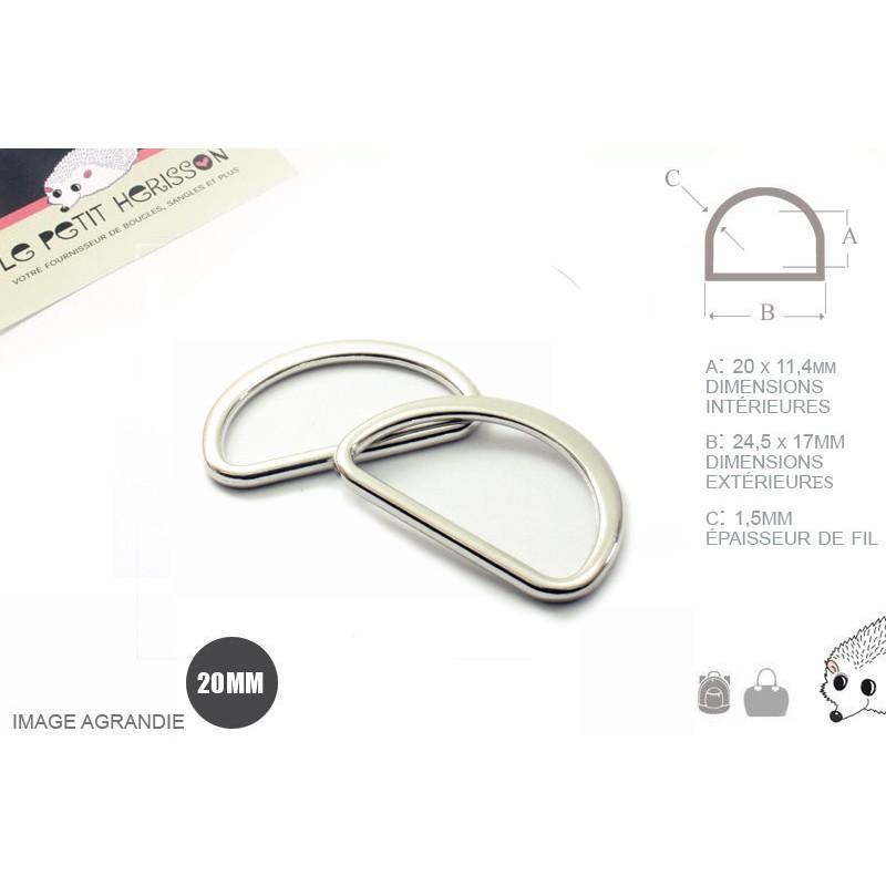 2 x 20mm Anneaux demi lunes / Metal /  Moulé / Plat / Nickel