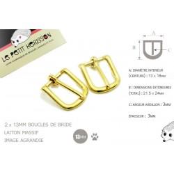 2 x 13mm Boucles de Bride / Laiton Massif