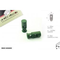 2 Arrêts de cordon / Cylindre long / Plastique / Vert Fonce