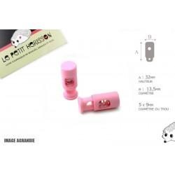 2 Arrêts de cordon / Cylindre long / Plastique / Rose