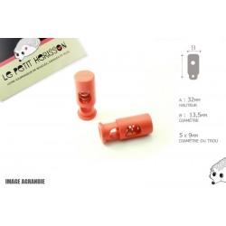 2 Arrêts de cordon / Cylindre long / Plastique / Orange