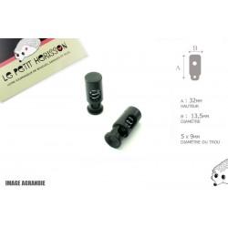 2 Arrêts de cordon / Cylindre long / Plastique / Noir