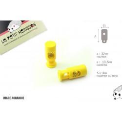 2 Arrêts de cordon / Cylindre long / Plastique / Jaune