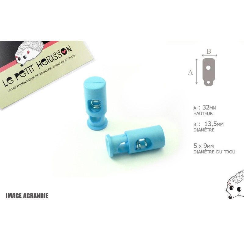 2 Arrêts de cordon / Cylindre long / Plastique / Bleu Clair