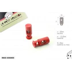 2 Arrêts de cordon / Cylindre long / Plastique / Rouge