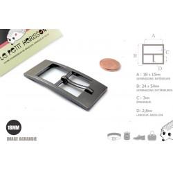 1 x 18mm  Boucle de ceinture / Métal / Gunmetal (Noir)