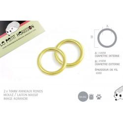 2 x 16mm Anneaux ronds / Moulé / Laiton Massif