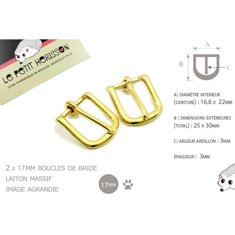 2 x 17mm Boucles de Bride / Laiton Massif