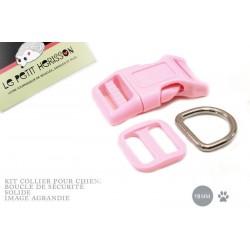 Kit Collier Pour Chien: 19mm / haute qualité / rose clair
