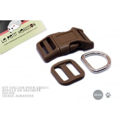 Kit Collier Pour Chien: 25mm / haute qualité / marron fonce