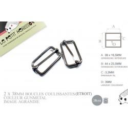 2 x 38mm Boucles Coulissantes / Boucles Réglables / Métal / Gunmetal / Etroit