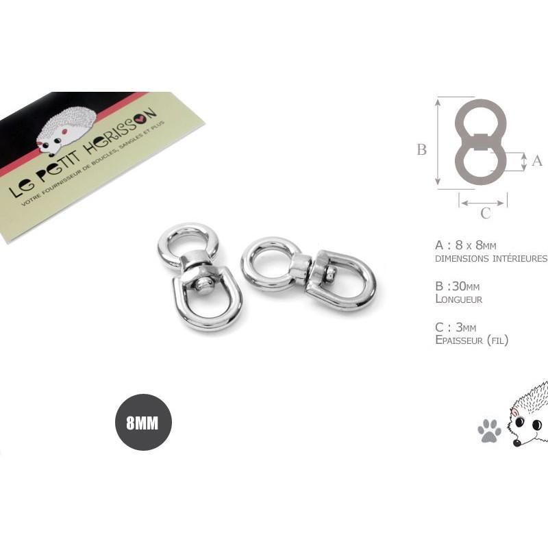 2  x 8mm Connecteurs Pivot / Emerillons / Métal / Chrome