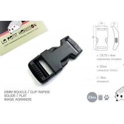 1 x 20mm Boucle Attache Rapide / Fermoir Clip / Plastique / Plat / Noir