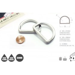 2 x 30mm Anneaux demi lunes / Metal / Moule / Haute Qualité / Nickel