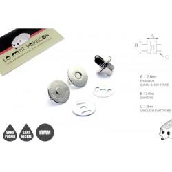 2 x 14mm Fermoirs Magnétiques / Qualité Supérieure / Nickel