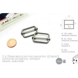 2 x 25mm Boucles Coulissantes / Boucles Réglables / Métal / Gunmetal Antique / Etroit