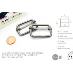 2 x 30mm Boucles Coulissantes / Boucles Réglables /  Metal / Gunmetal Antique