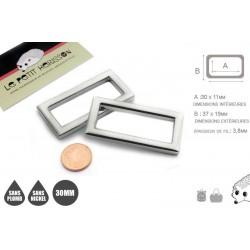 2 x 30mm Anneaux Rectangulaires / Passants Simples / Métal / Nickel / Argente