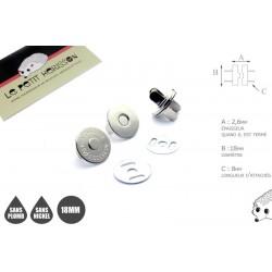 2 x 18mm Fermoirs Magnétiques / Qualité Supérieure / Nickel