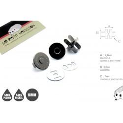 2 x 18mm Fermoirs Magnétiques / Qualité Supérieure / Gunmetal