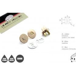 2 x 18mm Fermoirs Magnétiques / Qualité Supérieure / Dore Clair