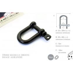 Manille Droite/ Metal / Forme U / Noir