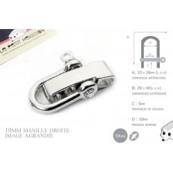 Manille Droite/ Metal / Forme U / Réglable / Argente