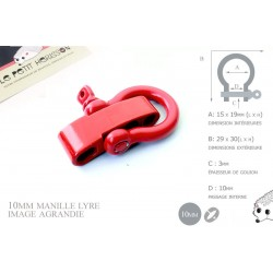 Manille Lyre / Metal / Forme C / Réglable / Rouge