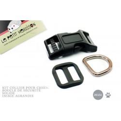 Kit Collier Pour Chien: 25mm / haute qualité / noir
