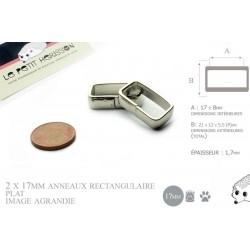 2  x 17mm Boucles Anneau Rectangulaire / Passants Simple /  Métal / Plat