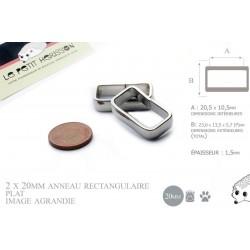 2  x 20mm Boucles Anneau Rectangulaire / Passants Simple /  Métal / Plat