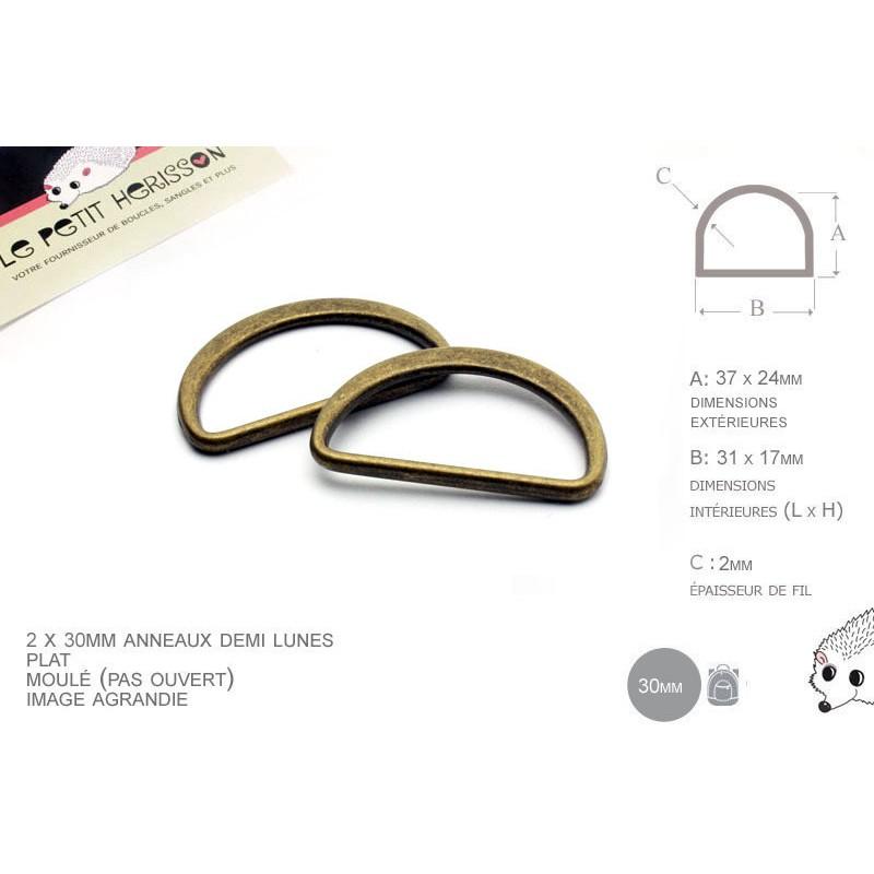2 x 30mm Anneaux demi lunes / Metal /  Moulé / Plat / Bronze
