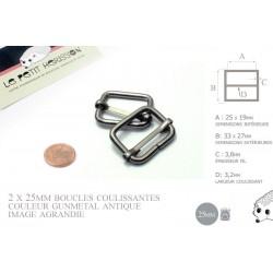 2 x 25mm Boucles Coulissantes / Boucles Réglables / Métal / Gunmetal Antique