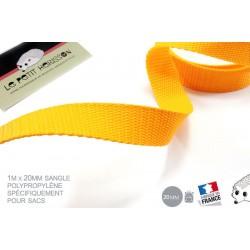 1m x 20mm Sangle / Polypropylène / Moyen / Jaune - Orange / Fabrique en France