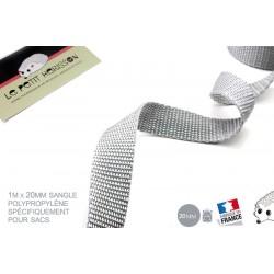 1m x 20mm Sangle / Polypropylène / Moyen / Gris / Fabrique en France
