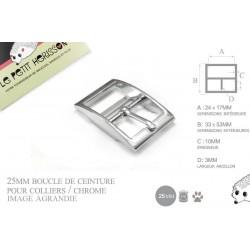 1 x 25mm Boucle pour colliers / Métal / Chrome