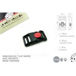 1 x 16mm Boucle Attache Rapide / Fermoir Clip / Plastique / Sécurité / Noir