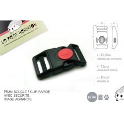 1 x 19mm Boucle Attache Rapide / Fermoir Clip / Plastique / Sécurité / Noir