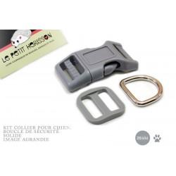 Kit Collier Pour Chien: 25mm / haute qualité / gris