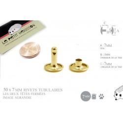 50 x 7mm Rivets Tubulaires / Acier / Plat / Laitonné