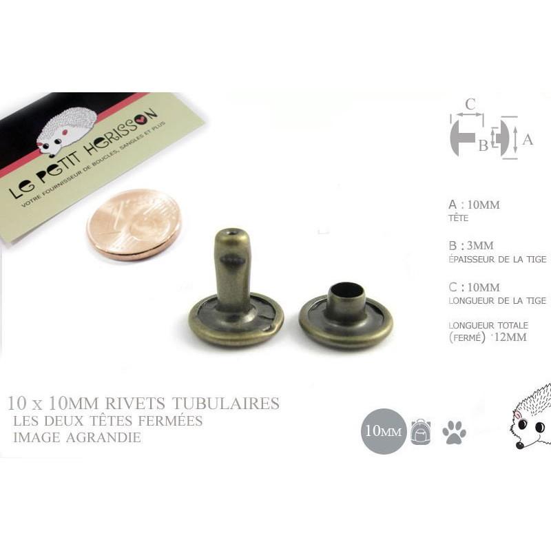 10 x 10mm Rivets Tubulaires / Acier / Plat / Bronze