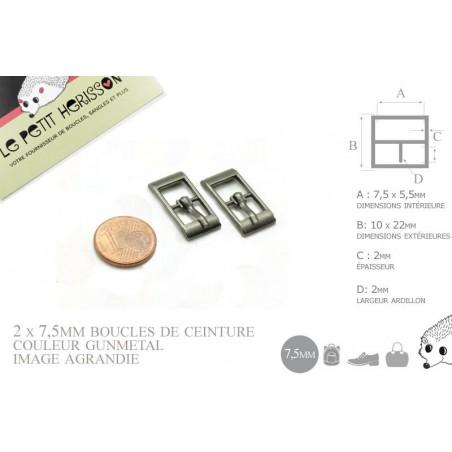 2 x 7,5mm Boucles de ceintures / Métal / Gunmetal / Pour les Chaussures (Poupée / bébé)