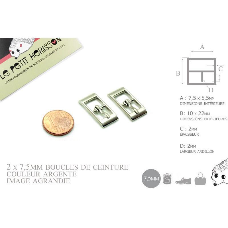 2 x 7,5mm Boucles de ceintures / Métal / Argente / Pour les Chaussures