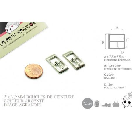 2 x 7,5mm Boucles de ceintures / Métal / Argente / Pour les Chaussures  (Poupée / bébé)